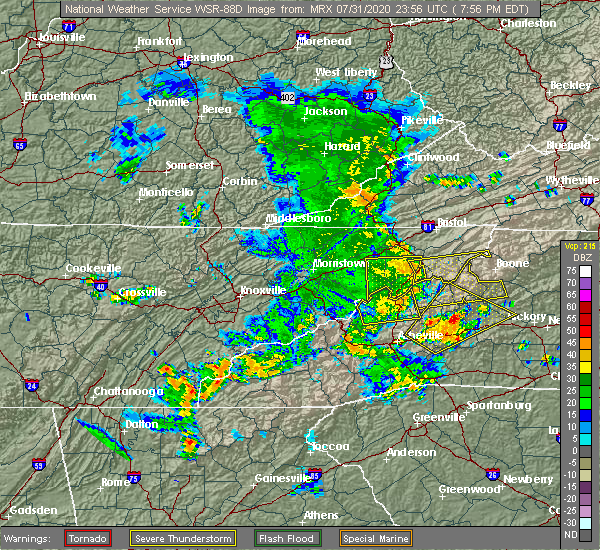 Radar Image for Severe Thunderstorms near Crossnore, NC at 7/31/2020 7:59 PM EDT
