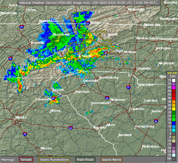Radar Image for Severe Thunderstorms near Crossnore, NC at 7/31/2020 8:13 PM EDT