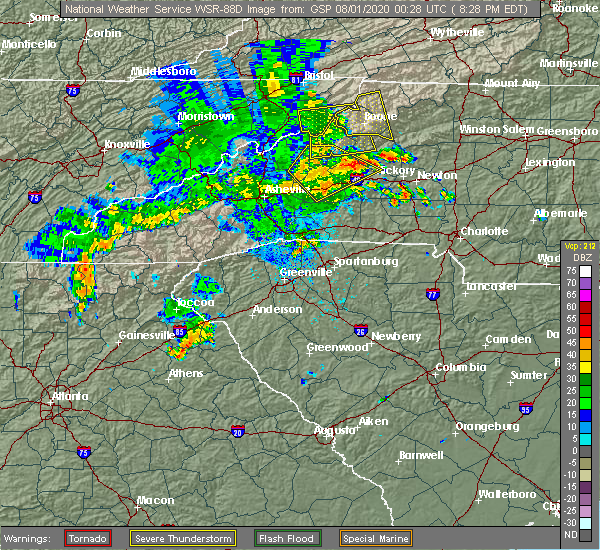 Radar Image for Severe Thunderstorms near Bethlehem, NC at 7/31/2020 8:35 PM EDT