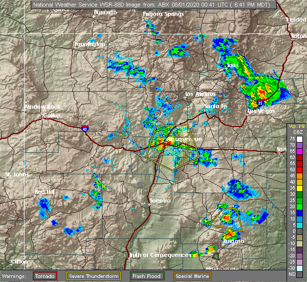 Radar Image for Severe Thunderstorms near Edgewood, NM at 7/31/2020 6:46 PM MDT