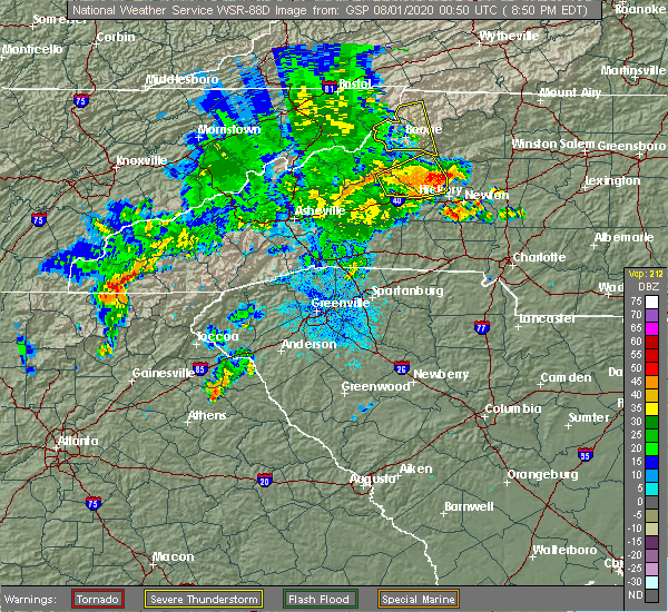 Radar Image for Severe Thunderstorms near Bethlehem, NC at 7/31/2020 8:57 PM EDT
