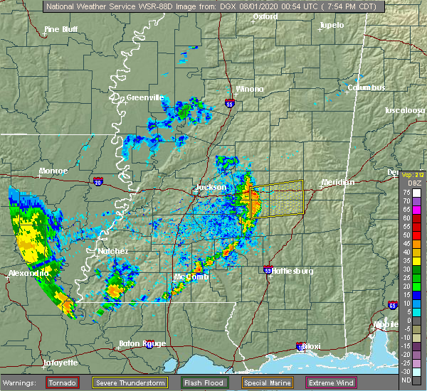 Radar Image for Severe Thunderstorms near Newton, MS at 7/31/2020 8:04 PM CDT