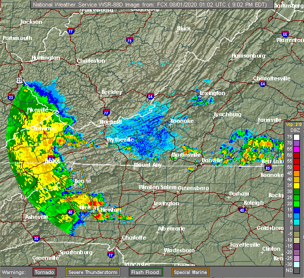 Radar Image for Severe Thunderstorms near Bethlehem, NC at 7/31/2020 9:08 PM EDT