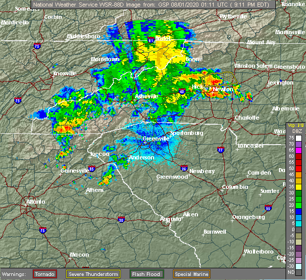 Radar Image for Severe Thunderstorms near Catawba, NC at 7/31/2020 9:20 PM EDT