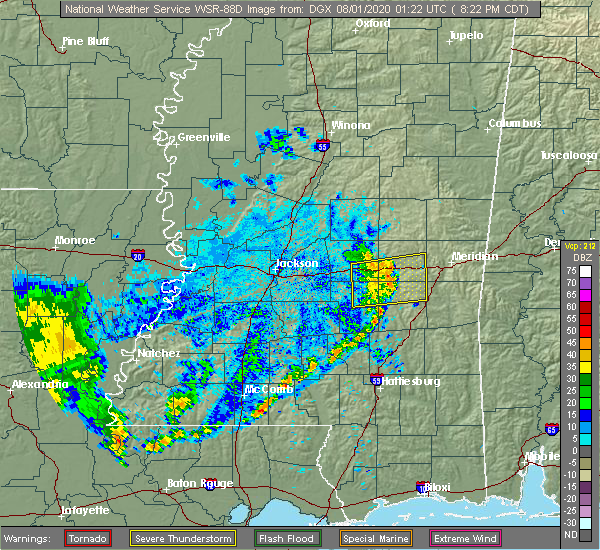 Radar Image for Severe Thunderstorms near Newton, MS at 7/31/2020 8:27 PM CDT