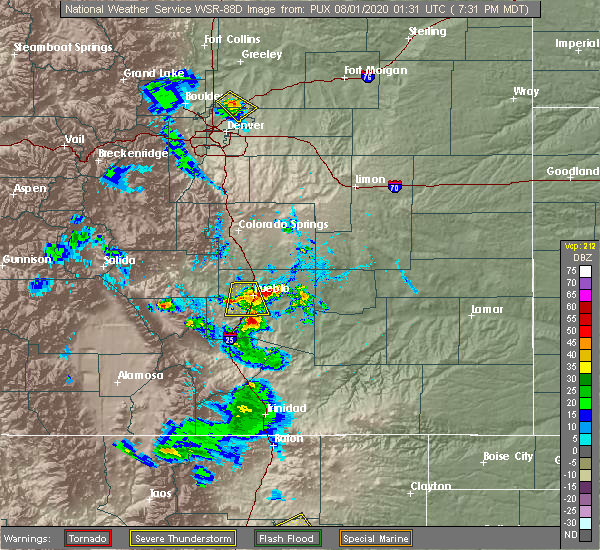 Radar Image for Severe Thunderstorms near Pueblo West, CO at 7/31/2020 7:36 PM MDT