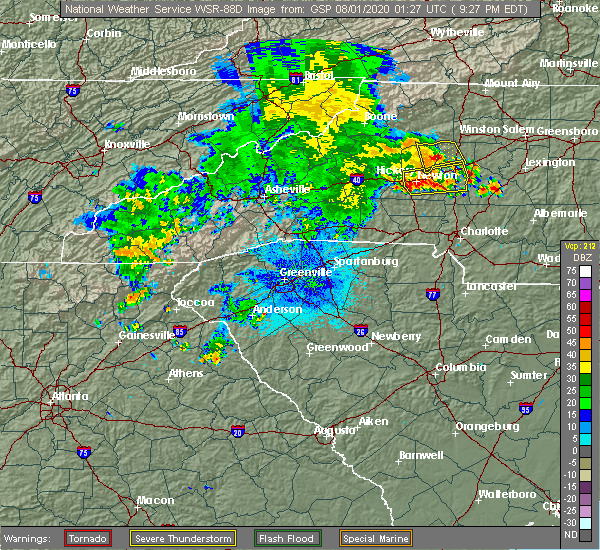 Radar Image for Severe Thunderstorms near Catawba, NC at 7/31/2020 9:46 PM EDT