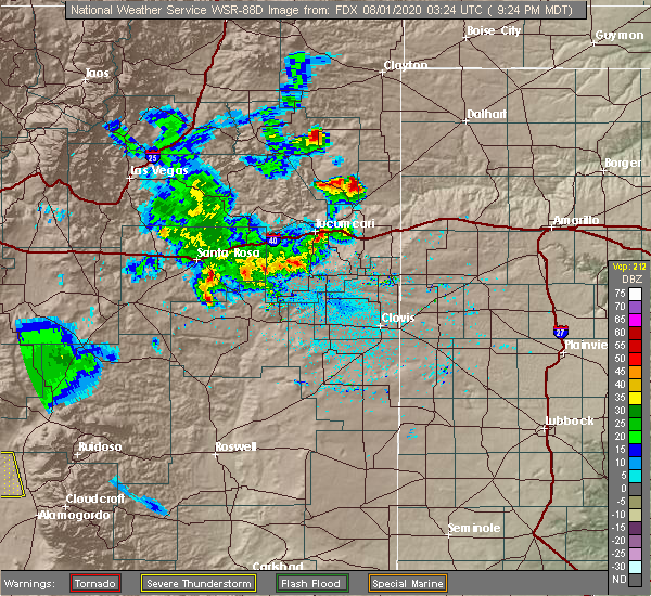 Radar Image for Severe Thunderstorms near Logan, NM at 7/31/2020 9:28 PM MDT