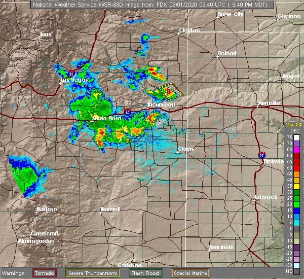 Radar Image for Severe Thunderstorms near Logan, NM at 7/31/2020 9:42 PM MDT