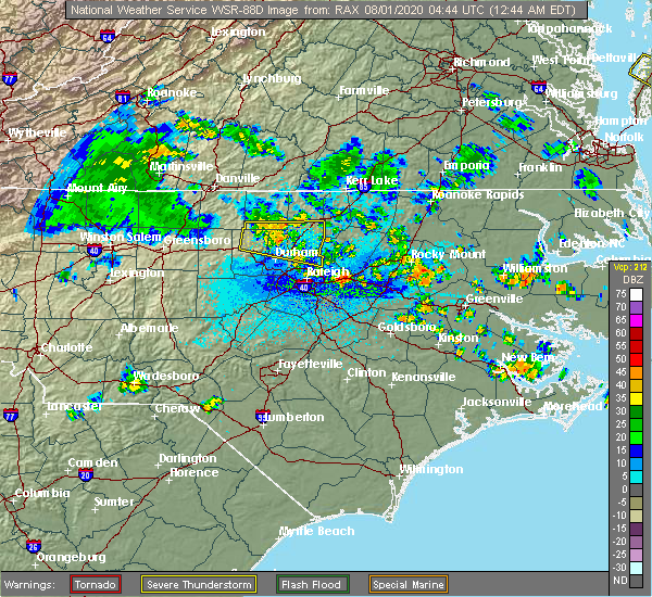 Radar Image for Severe Thunderstorms near Creedmoor, NC at 8/1/2020 12:49 AM EDT