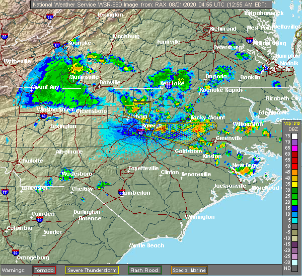 Radar Image for Severe Thunderstorms near Creedmoor, NC at 8/1/2020 1:01 AM EDT