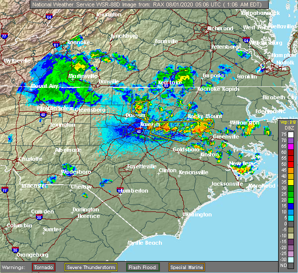 Radar Image for Severe Thunderstorms near Creedmoor, NC at 8/1/2020 1:10 AM EDT