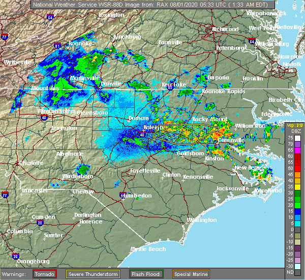 Radar Image for Severe Thunderstorms near Bailey, NC at 8/1/2020 1:38 AM EDT