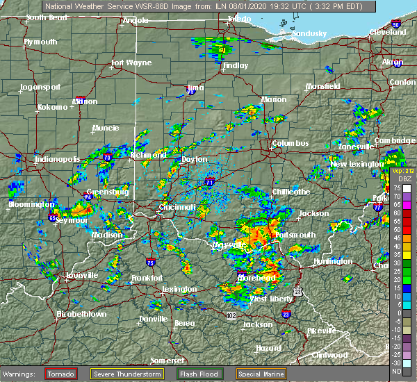 Radar Image for Severe Thunderstorms near Portsmouth, OH at 8/1/2020 3:42 PM EDT