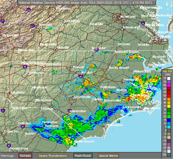 Radar Image for Severe Thunderstorms near Smithfield, NC at 8/1/2020 4:19 PM EDT