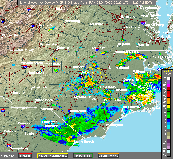 Radar Image for Severe Thunderstorms near Smithfield, NC at 8/1/2020 4:33 PM EDT