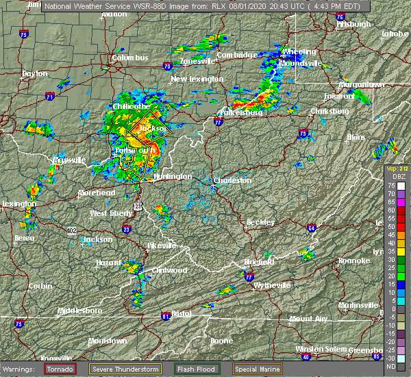 Radar Image for Severe Thunderstorms near Wellston, OH at 8/1/2020 4:46 PM EDT