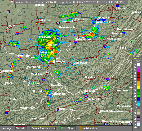 Radar Image for Severe Thunderstorms near Wellston, OH at 8/1/2020 4:55 PM EDT