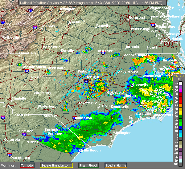 Radar Image for Severe Thunderstorms near Garner, NC at 8/1/2020 5:02 PM EDT