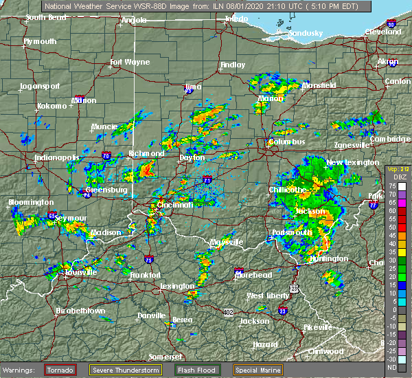 Radar Image for Severe Thunderstorms near Brookville, OH at 8/1/2020 5:14 PM EDT