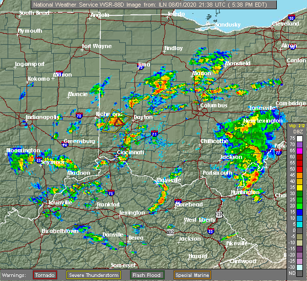 Radar Image for Severe Thunderstorms near Brookville, OH at 8/1/2020 5:43 PM EDT