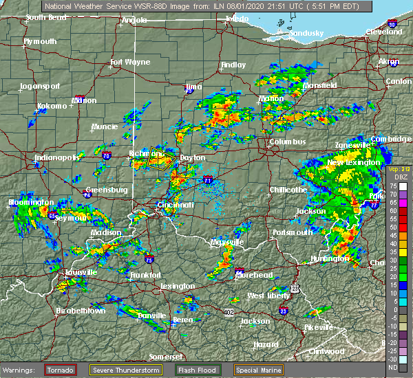 Radar Image for Severe Thunderstorms near Brookville, OH at 8/1/2020 5:55 PM EDT