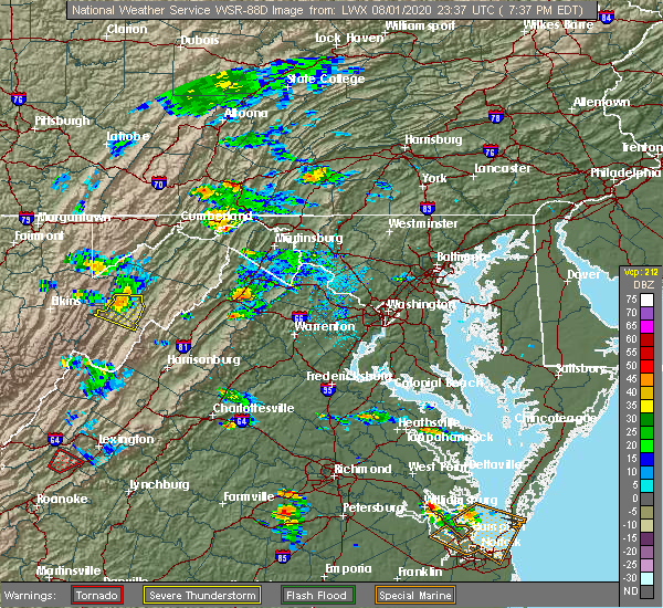 Radar Image for Severe Thunderstorms near Little Orleans, MD at 8/1/2020 7:43 PM EDT