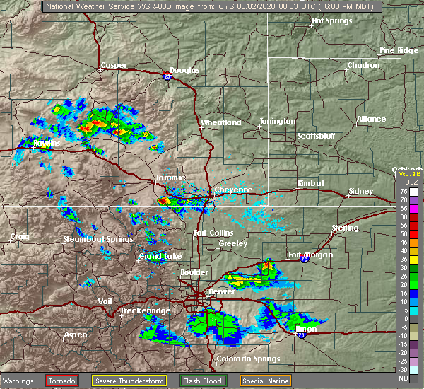 Radar Image for Severe Thunderstorms near Red Feather Lakes, CO at 8/1/2020 6:06 PM MDT