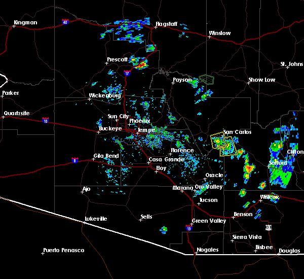 Radar Image for Severe Thunderstorms near East Globe, AZ at 8/1/2020 5:13 PM MST