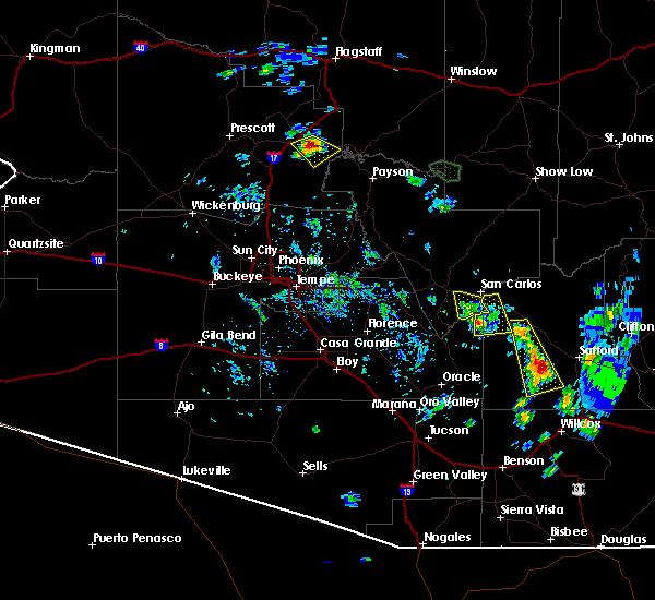 Radar Image for Severe Thunderstorms near East Globe, AZ at 8/1/2020 5:24 PM MST