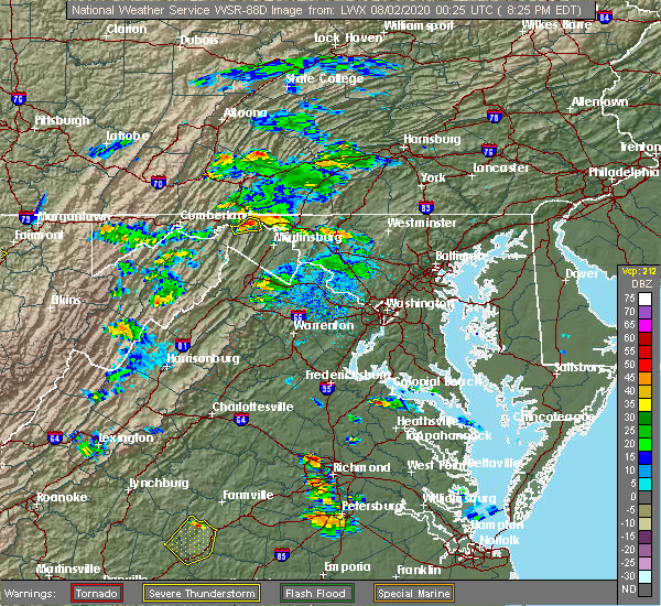 Radar Image for Severe Thunderstorms near Pecktonville, MD at 8/1/2020 8:32 PM EDT