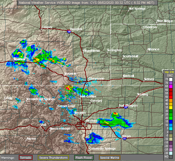 Radar Image for Severe Thunderstorms near Red Feather Lakes, CO at 8/1/2020 6:36 PM MDT