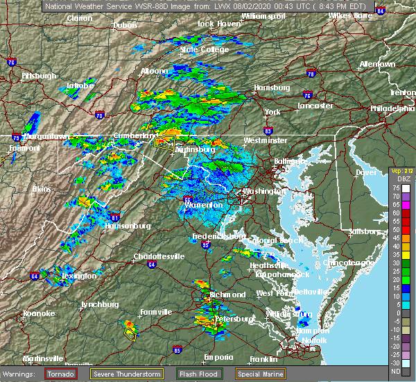 Radar Image for Severe Thunderstorms near Pecktonville, MD at 8/1/2020 8:46 PM EDT