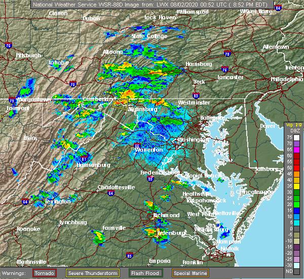Radar Image for Severe Thunderstorms near Pecktonville, MD at 8/1/2020 8:55 PM EDT