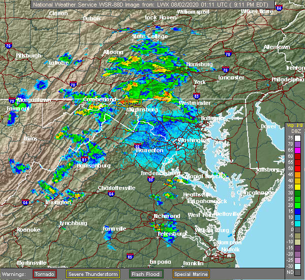 Radar Image for Severe Thunderstorms near Pinesburg, MD at 8/1/2020 9:20 PM EDT