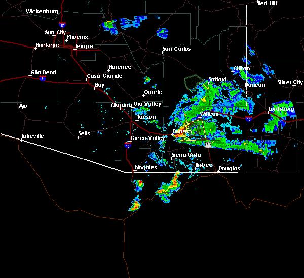 Radar Image for Severe Thunderstorms near Benson, AZ at 8/1/2020 7:48 PM MST