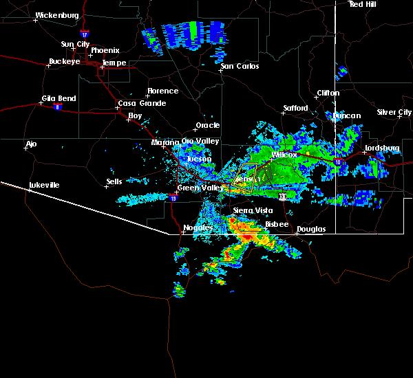 Radar Image for Severe Thunderstorms near Benson, AZ at 8/1/2020 8:24 PM MST
