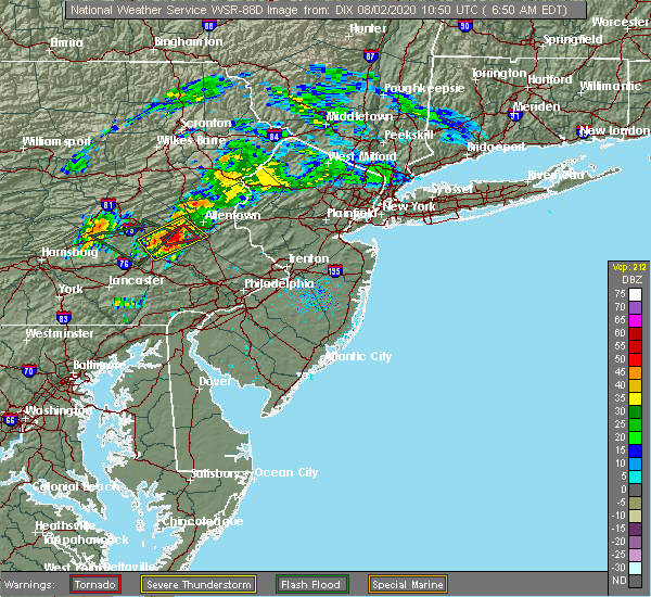 Radar Image for Severe Thunderstorms near Wescosville, PA at 8/2/2020 6:53 AM EDT
