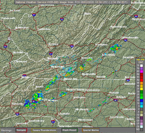 Radar Image for Severe Thunderstorms near Union Hall, VA at 8/2/2020 2:40 PM EDT