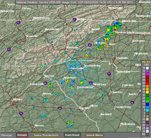 Radar Image for Severe Thunderstorms near Catawba, NC at 8/2/2020 3:54 PM EDT