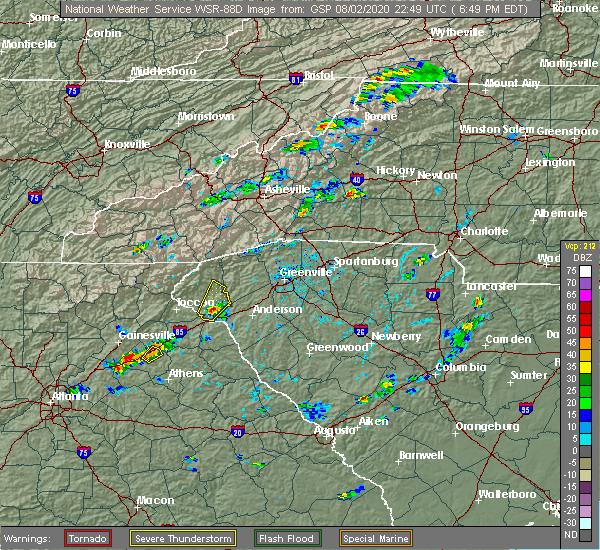 Radar Image for Severe Thunderstorms near Seneca, SC at 8/2/2020 6:53 PM EDT