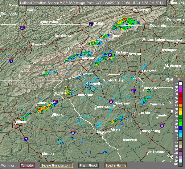 Radar Image for Severe Thunderstorms near Seneca, SC at 8/2/2020 7:04 PM EDT