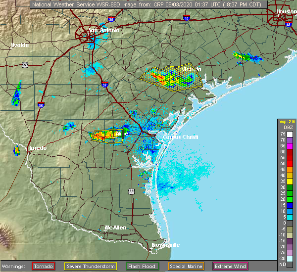 Radar Image for Severe Thunderstorms near Goliad, TX at 8/2/2020 8:41 PM CDT