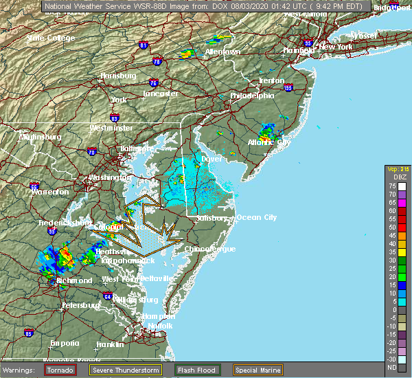 Radar Image for Severe Thunderstorms near Long Beach, MD at 8/2/2020 9:50 PM EDT