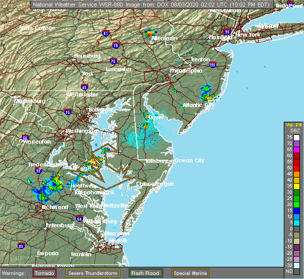 Radar Image for Severe Thunderstorms near Long Beach, MD at 8/2/2020 10:09 PM EDT