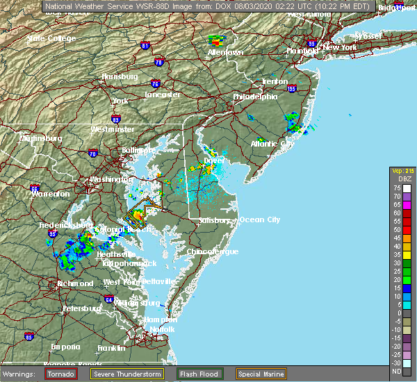 Radar Image for Severe Thunderstorms near Long Beach, MD at 8/2/2020 10:24 PM EDT