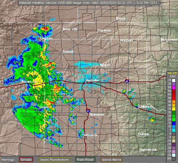 Radar Image for Severe Thunderstorms near Boise City, OK at 8/2/2020 9:37 PM CDT