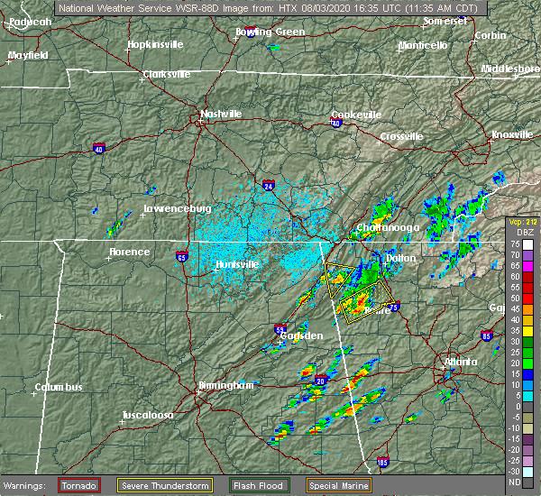 Radar Image for Severe Thunderstorms near LaFayette, GA at 8/3/2020 12:39 PM EDT