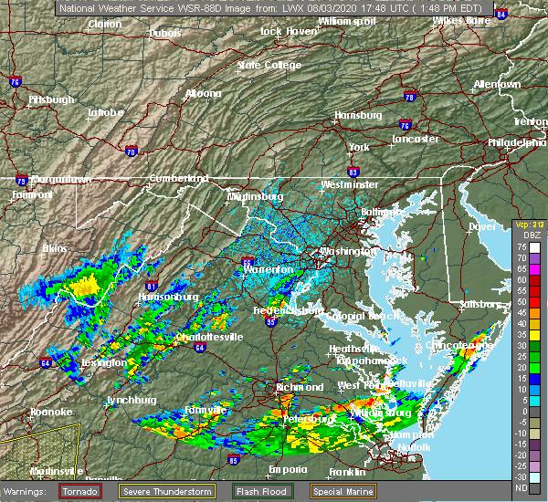 Radar Image for Severe Thunderstorms near Fredericksburg, VA at 8/3/2020 1:50 PM EDT