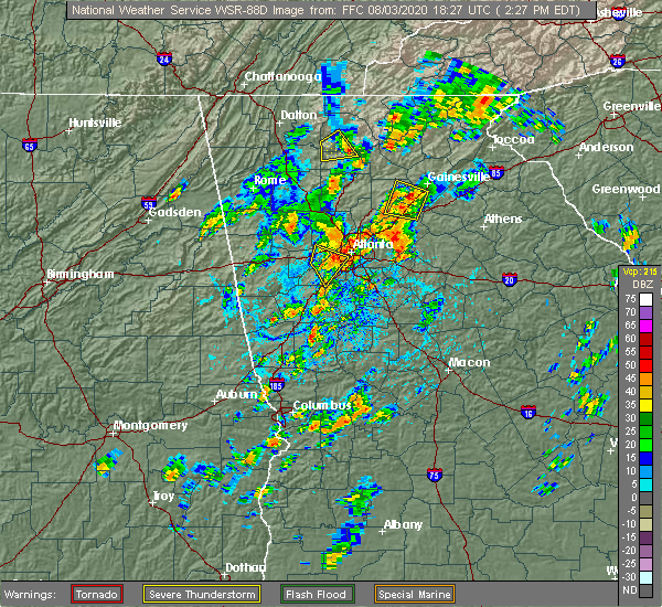 Radar Image for Severe Thunderstorms near Buford, GA at 8/3/2020 2:33 PM EDT